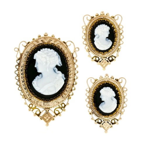 Antique Victorian 14k Gold Oval Black & White Carved Cameo Brooch & Earrings Set