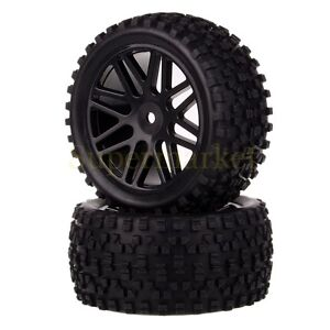 2x Rear Wheel Rim & Tyre 06026 For RC 1/10 Off Road Buggy 66035 Fit HSP RedCat