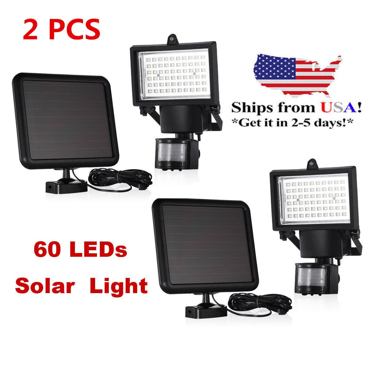 2PACK 60 LEDs Outdoor Garden Solar Motion Sensor Security Flood Light Spot Lamp9