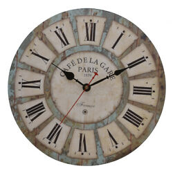 Antique Wall Clock Round Large Art Home Decor Decoration Roman Numbers Wood