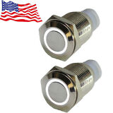 New 2pcs White Led 12V 16mm Metal Push Button Latching Switch For Car Boat DIY
