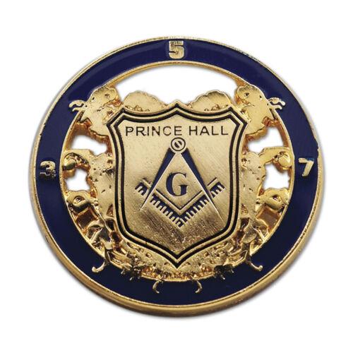 Prince Hall Shield Round Masonic Lapel Pin - [Blue & Gold][1 1/4