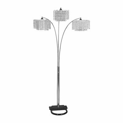 Hongville HV FLAMP 6932 U Shaped Heavy Base 3 Arm Faux Crystal Shades Floor Lamp