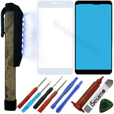 Huawei Honor 6 Front LCD Display Glas Scheibe Weiss + UV LICHT LAMPE + LOCA ()