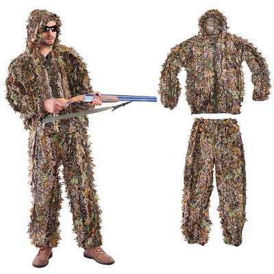 3D jungle Hunting Leaf Ghillie Suit Woodland Camo Camouflage Clothing (Cheap Ghillie Suits)