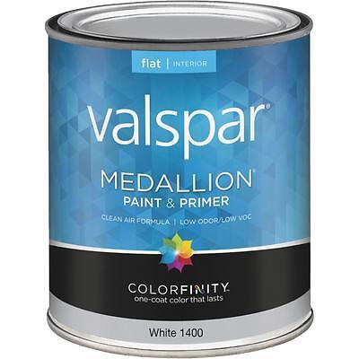 Valspar Medallion Acrylic Paint & Primer Non-effervescent Interior Wall Paint, White, 1 Qt.
