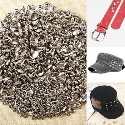 300x Double Caps Studs Rivets Set DIY Crafts Bags Shoes Leather Decor 6/8/10mm