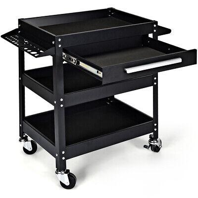 Three Tray Tool Cart Organizer Rolling utility Triple Decker