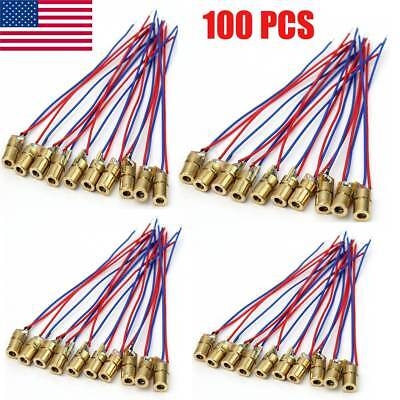 100pcs Red Dot Laser Diode Module 5 Volt 5mw 650nm Heads New
