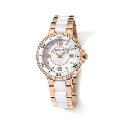 DRONE PRECISION TIMEPIECES WHITE CERAMIC STAINLESS STEEL ROSETONE WATCH HSN $200 ()
