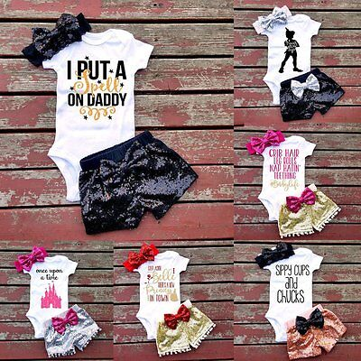3PCS Newborn Baby Girl Outfits Clothes Romper Jumpsuit Bodysuit+Pants Shorts Set