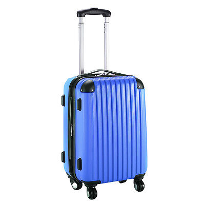 "GLOBALWAY 20"" Expandable ABS Carry On Luggage Travel Bag Trolley Suitcase Navy"