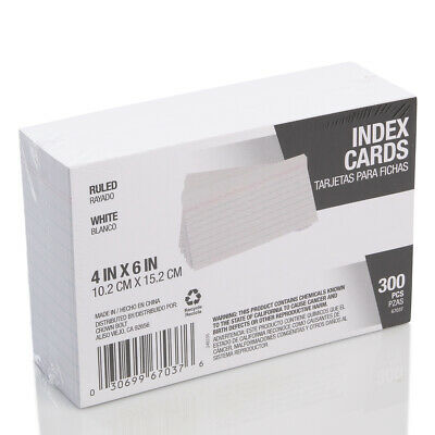 300 Pack Index Cards College Ruled Lined 4x6 Sturdy Stock Paper Office Supplies