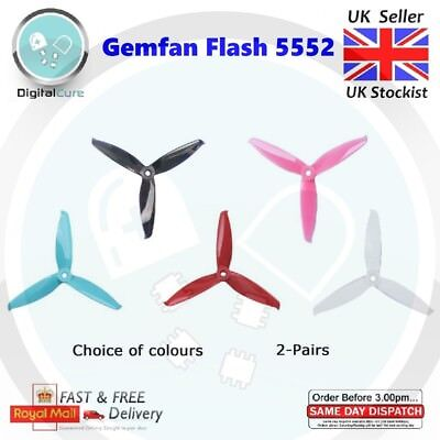 """2 Pairs Gemfan Flash 5552 3-blade PC Propeller CW CCW - Racing Freestyle 5"""" 6"""""""