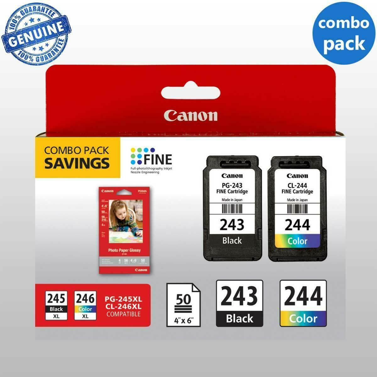 Original Combo Canon PG-243 CL-244 Black And Color  - $42.99