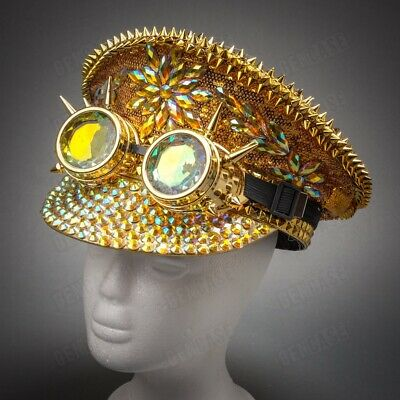 Luxury Men & Women Steampunk Burning Man Costume Festival Party Top Hat GOLD](Party Top Hat)