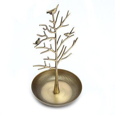 (Birds Tree Jewelry Stand Display Earring Necklace Holder Organizer Rack Cyan)