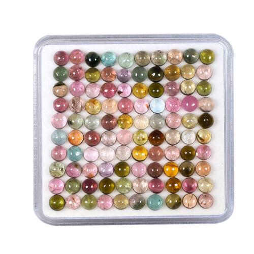 100 Pcs Natural Tourmaline 3.7mm-4mm Round Cabochon Multi Color Loose Gemstones