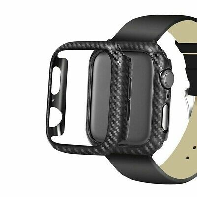 Snap On Black Carbon Fiber Case Protective Bumper Cover for Apple iWatch