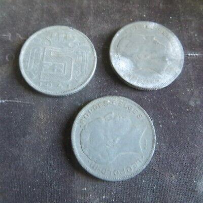 3 x Pièce de 5 francs 1941 à 1945 Léopold III