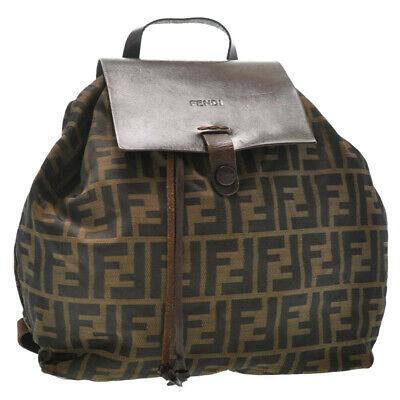 FENDI Zucca Canvas Backpack Brown Black Nylon Auth sa2900 **Sticky