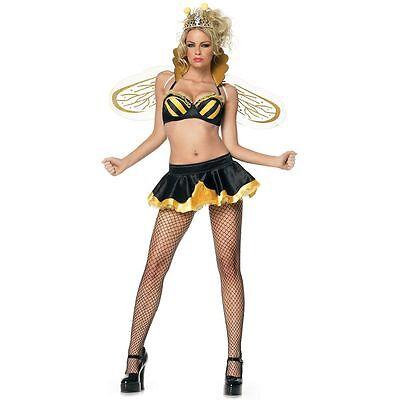 Leg Avenue Sexy Queen Bee Complete Costume Wings New SZ M / L 4 piece  - Leg Avenue Bee Costume