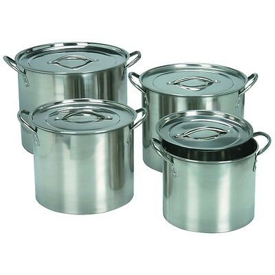 Stainless Steel Four Piece Covered Stockpot Set with lids 4 Cooking Stock Pots