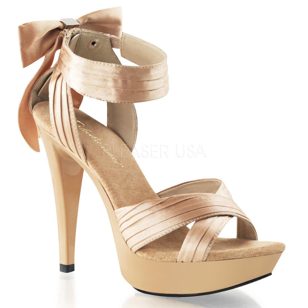 Nude Cream Satin Pinup Girl Heels Bows Wedding Bridesmaid Bridal Shoes Womans