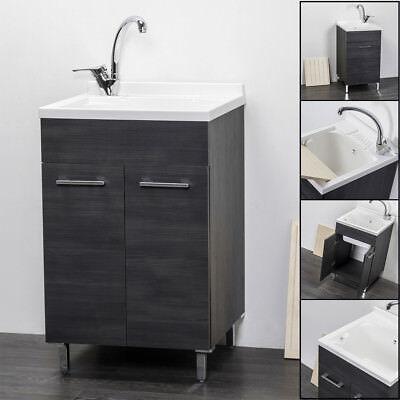 Lavatoio lavanderia mobile in legno vasca resistente agli acidi ROVERE SCURO