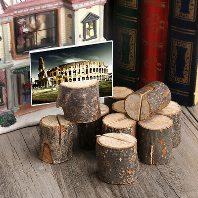 10pcs Rustic Wedding Table Wooden Place Number Name Card Stand Holder Decor