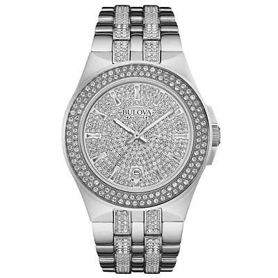 Bulova Men's Crystal Stainless Steel Japanese Quartz Wristwatch 96B235