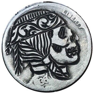 Coin Art Hobo Nickel Indian Skull Buffalo Zombie Scroll Filigree Carved 72