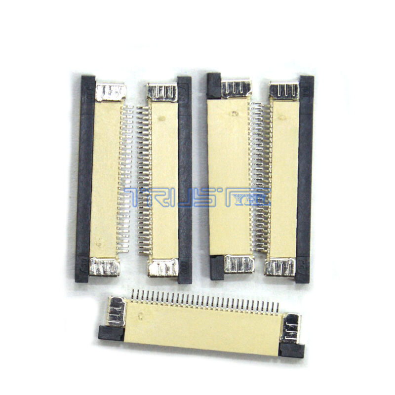 5 Pcs FFC/FPC Flexible Flat Cable Connector 30 Pin 0.5mm Pitch ZIF Flip For PCB