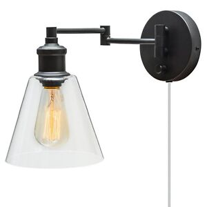Wall Sconce Plug In or With On Off Switch Reading Lamp For Bed Industrial Light