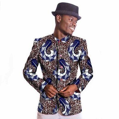 Chinese Tunic Style Afrcian Ankara Cotton Wax Blazer Batik Suit for Men (Men's Ankara Styles)