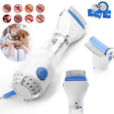 Electric Vacuum Head Lice Comb Brush Pet Dog Flea Filter Remover with 3 Filters
