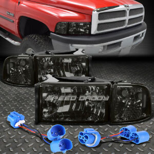 SMOKED HOUSING CLEAR LENS HEADLIGHT+CORNER SIGNAL LAMP FOR 94-02 DODGE RAM/SPORT