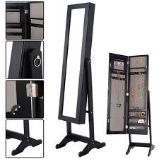 New Mirrored Jewelry Cabinet Armoire Mirror Organizer Storage Box Ring w/ Stand
