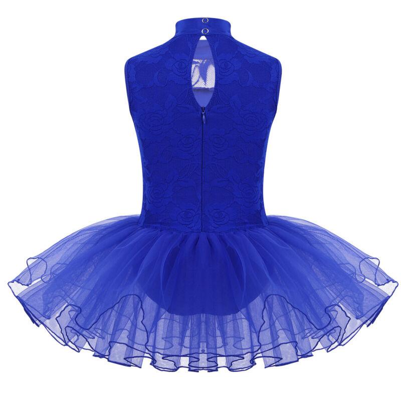 Girls Floral Lace Ballet Dance Dress Kid Mock Neck Gymnastics Leotard Tutu Skirt