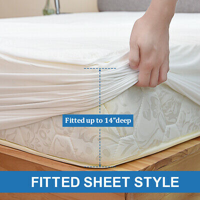 BAMBOO Mattress Protector Waterproof Soft Hypoallergenic Fitted Cover Pad Twin Fitted Hypoallergenic Polyester Mattress Pad