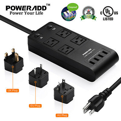Poweradd 4 Outlet Power Strip 4 USB Charging Port Surge Prot