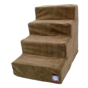 Majestic Pet 4 Step Chocolate Suede Pet Stairs for Pet Dog/ Pet Cat - Faux Suede