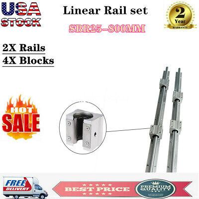 2x Sbr25 800mm Shaft Rod Slide Guide Linear Rail 4x Sbr25uu Block Bearing New