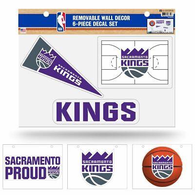 Sacramento Kings NBA Set of 6 Removable Wall Decal Stickers