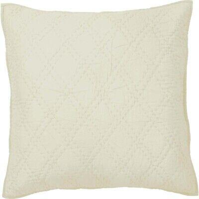 VHC Brands Farmhouse Euro Pillow Sham Cotton Hand Quilted Beige Tan 26 x 26 in Tan Euro Sham