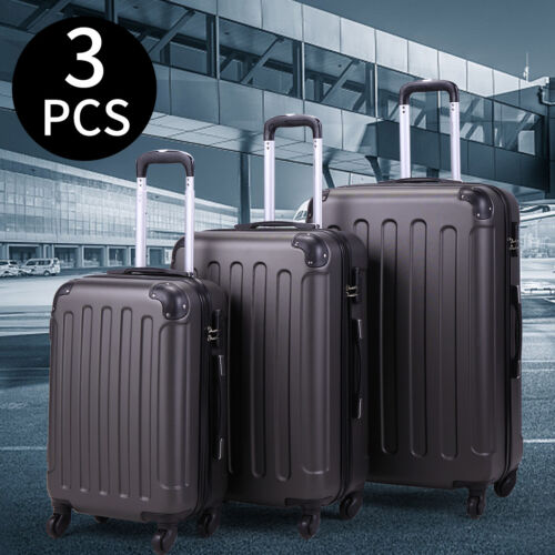 BHC 3Pcs Suitcase Luggage Travel Bag Tags Spinner Coded Lock Set Wheels Gray