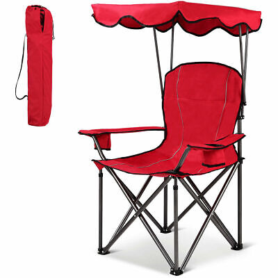 - Portable Folding Beach Canopy Chair W/ Cup Holders Bag Camping Hiking Outdoor