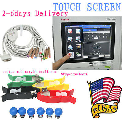 Us Digital 12-lead Touch Ecgekg Machine Electrocardiograph Pc Swportable Fda