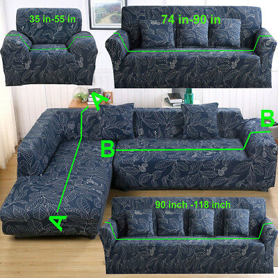 1-4 Seater Printing Sectional Corner L Shape Stretch Sofa Slipcover Couch Cover
