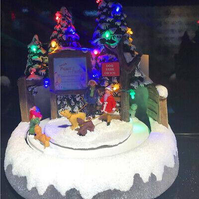 LED Christmas Village Scene Musical Ornament Fountain Santa Decoration A